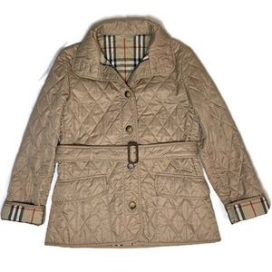 BURBERRY Women's Diamond Quilted Tan Jacket Size S